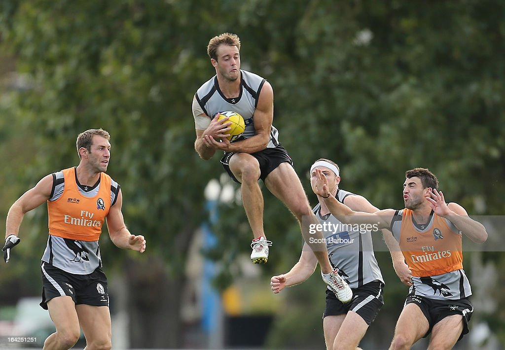 Alan Toovey of the Magpies catches the ball during a Collingwood Magpies AFL training session at Gosch's Paddock on March 22, 2013 in Melbourne, Australia.