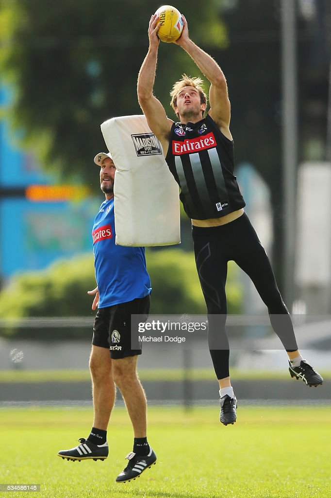 Alan Toovey of the Magpies marks the ball during a Collingwood Magpies AFL training session on May 27, 2016 in Melbourne, Australia.