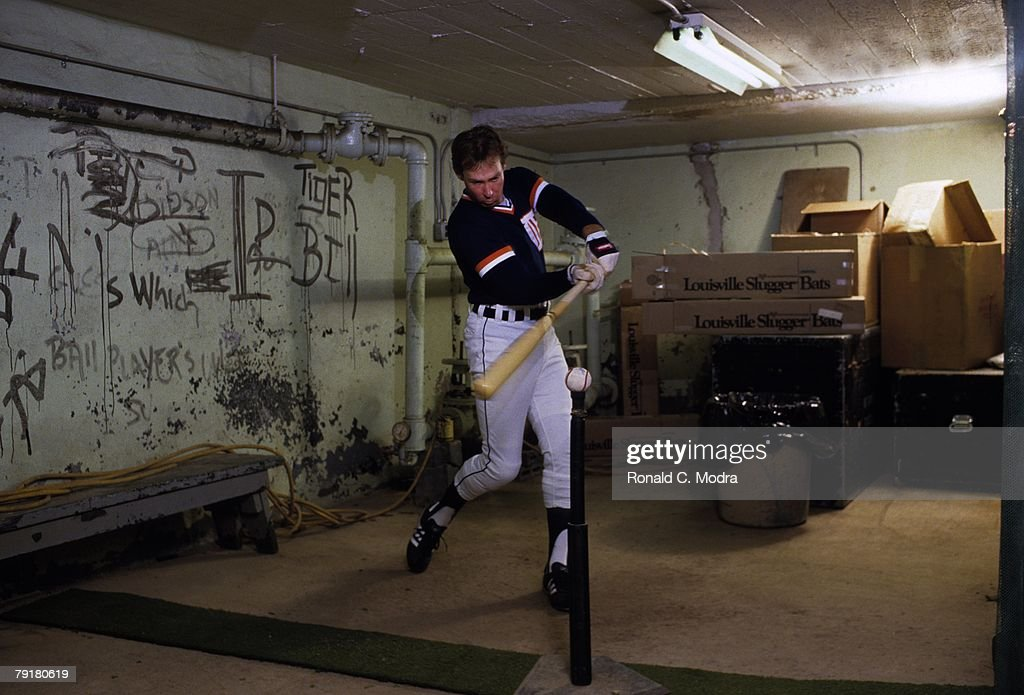 Alan Trammel #3 of the Detroit Tigers practicing under the stadium before a game against the California Angels in May 1984 in Detroit, Michigan.