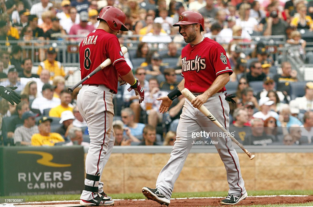 <a gi-track='captionPersonalityLinkClicked' href=/galleries/search?phrase=Alan+Trammell&family=editorial&specificpeople=239515 ng-click='$event.stopPropagation()'>Alan Trammell</a> #3 of the Arizona Diamondbacks celebrates after scoring in the sixth inning on a RBI single against the Pittsburgh Pirates during the game on August 18, 2013 at PNC Park in Pittsburgh, Pennsylvania.
