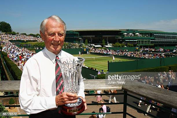 Alan Trengove poses with ATP Ron Bookman Media Excellence Award on Day Nine of the Wimbledon Lawn Tennis Championships at the All England Lawn Tennis...