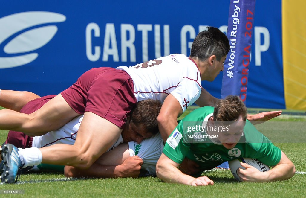 Alan Tynan of Ireland breaks free to scores a try in the first half during the World Rugby U20 Championship 9th Place Playoff match between Ireland and Georgia at Mikheil Meskhi Stadium on June 18, 2017 in Tbilisi, Georgia.
