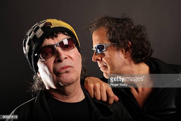 Alan Vega and Martin Rev of Suicide pose for a portrait at ATP New York 2009 festival at the Kutsheris Country Club on September 11 2009 in...