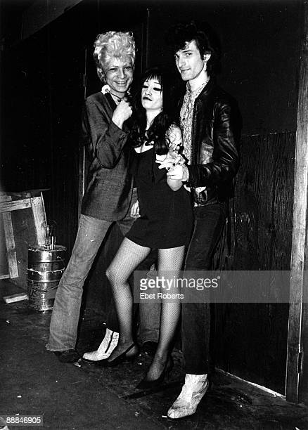 Alan Vega of Suicide Willy DeVille of Mink DeVille with his wife Toots at Max's Kansas City on January 14th1977 in New York