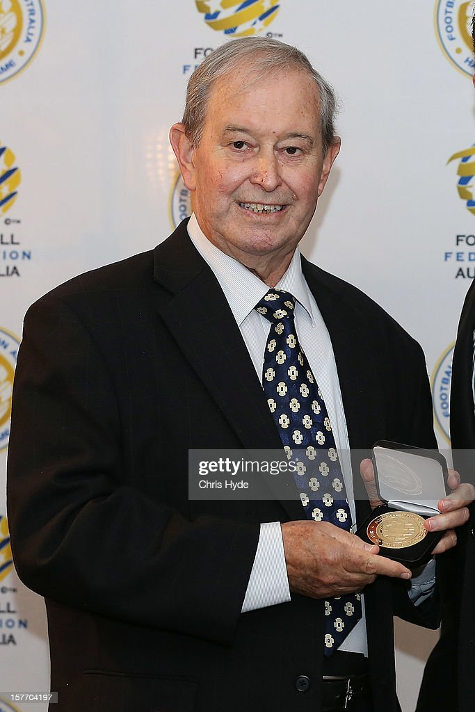 Alan Vessey poses for a photograph after being inducted into the 2012 Football Federation Australia Hall of Fame during a ceremony at Gambaro Restaurant and Function Centre on December 6, 2012 in Brisbane, Australia.