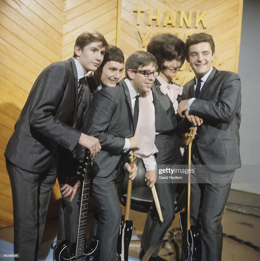 Alan Ward, Denis D'Ell, Martin Murray, Honey Lantree and John Lantree of The Honeycombs perform on Thank Your Lucky Stars television show filmed in Birmingham, England in October 1964.