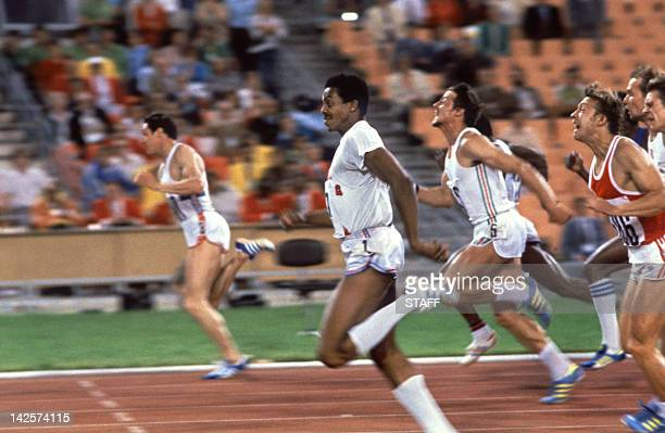 Alan Wells of Great Britain wins the men's 100m final in front of Silvio Leonard from Cuba and Petar Petrov from Bulgaria 25 July 1980 at the Olympic...