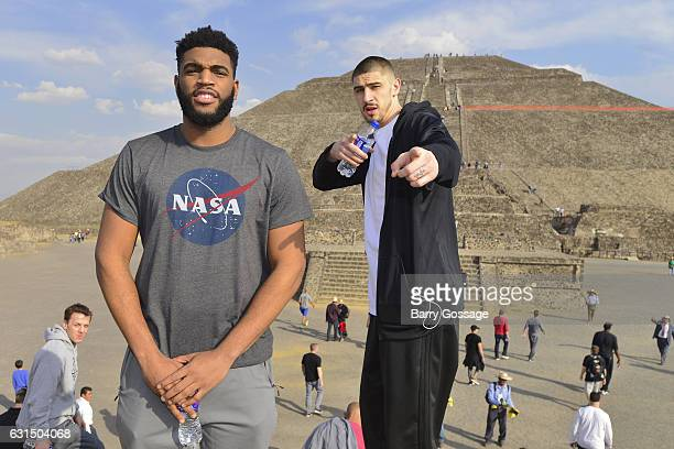 Alan Williams and Alex Len of the Phoenix Suns pose for a photo during a visit to the Piramides de Teotihuacan as part of NBA Global Games on January...