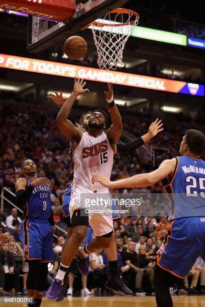 Alan Williams of the Phoenix Suns attempts a shot against the Oklahoma City Thunder during the second half of the NBA game at Talking Stick Resort...
