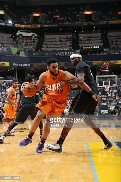 Alan Williams of the Phoenix Suns handles the ball against Zach Randolph of the Memphis Grizzlies during the game on February 28 2017 at FedExForum...