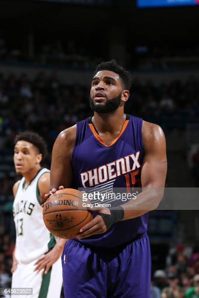 Alan Williams of the Phoenix Suns shoots a free throw against the Milwaukee Bucks on February 26 2017 at the BMO Harris Bradley Center in Milwaukee...