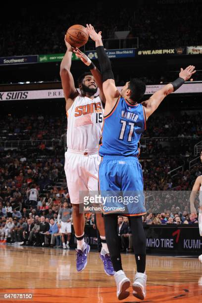 Alan Williams of the Phoenix Suns shoots the ball against the Oklahoma City Thunder on March 3 2017 at Talking Stick Resort Arena in Phoenix Arizona...