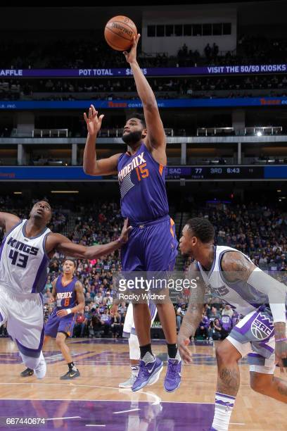 Alan Williams of the Phoenix Suns shoots the ball against the Sacramento Kings on April 11 2017 at Golden 1 Center in Sacramento California NOTE TO...