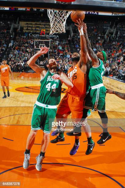 Alan Williams of the Phoenix Suns shoots the ball during the game against the Boston Celtics on March 5 2017 at US Airways Center in Phoenix Arizona...