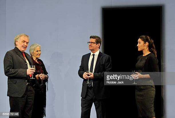 Alan Williams Susan Engel Stuart McQuarrie and Eleanor Matsuura in Caryl Churchill's Here We Go directed by Dominic Cooke at the National Theatre in...