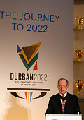 Alan Yarrow Lord Mayor of the City of London talks during the formal bid from Durban South Africa to host the 2022 Commonwealth Games at Mansion...