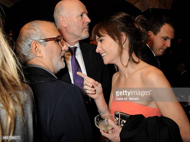 Alan Yentob Simon Oakes and Sheherazade Goldsmith attend the Charles Finch and Chanel PreBAFTA cocktail party and dinner at Annabel's on February 8...