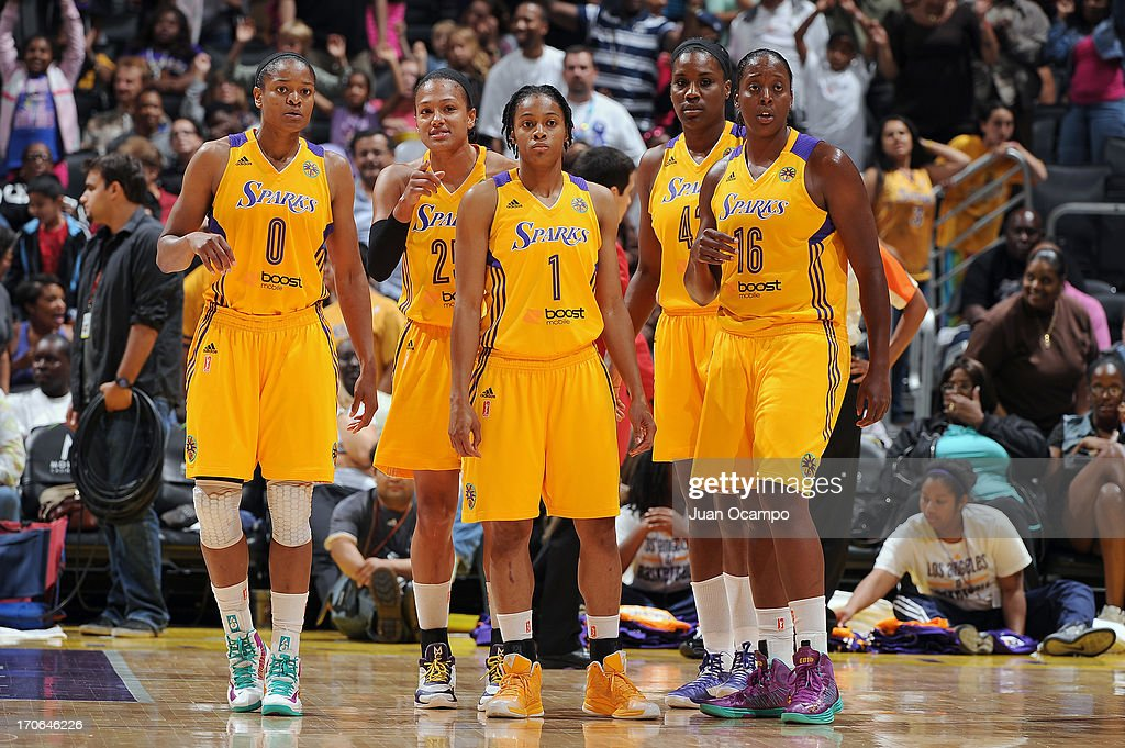 Alana Beard Marissa Coleman A'dia Mathies Jantel Lavender and Ebony Hoffman of the Los Angeles Sparks gather during the game against the San Antonio...