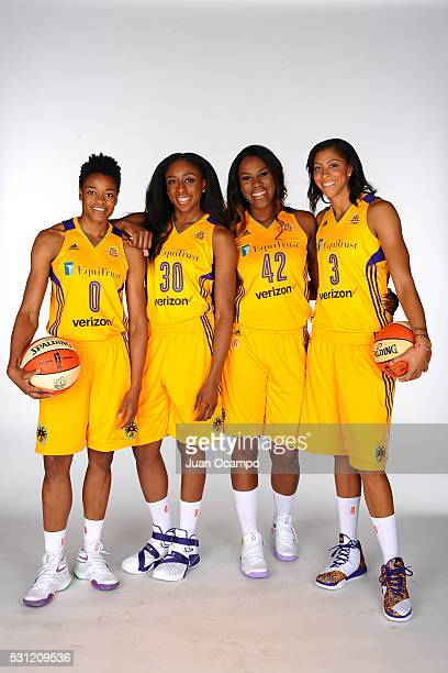 Alana Beard Nneka Ogwumike Jantel Lavender and Candace Parker of the Los Angeles Sparks poses for a portrait during the Los Angeles Sparks media day...