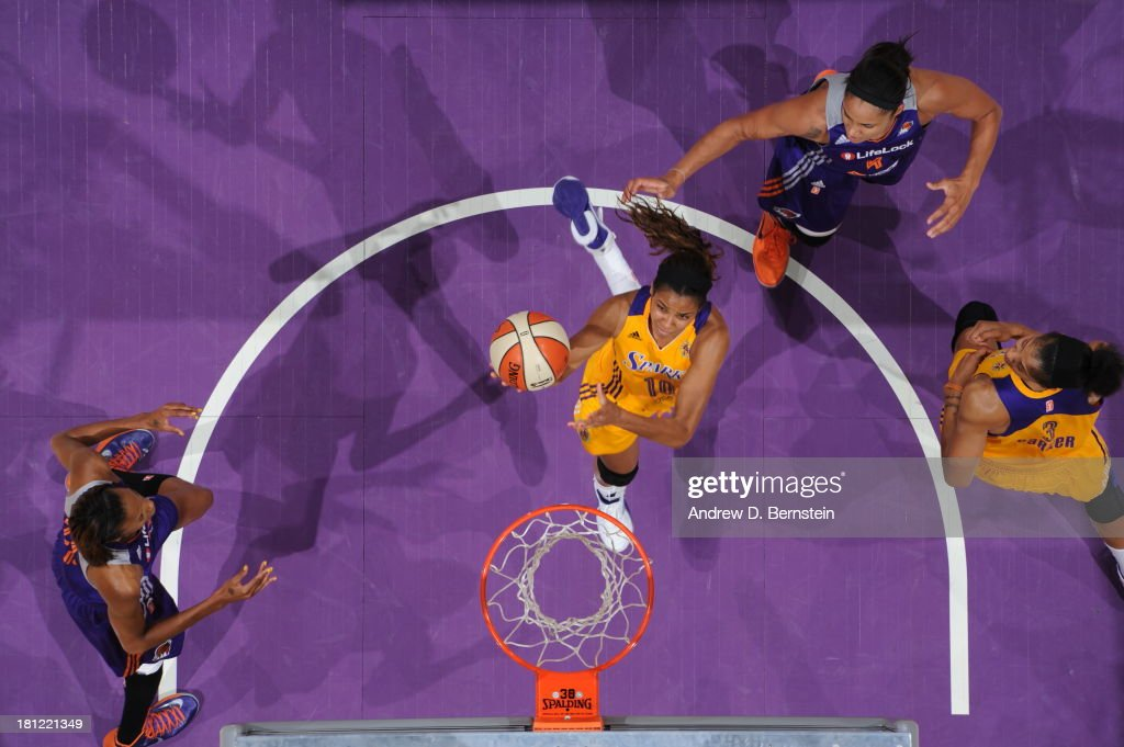 <a gi-track='captionPersonalityLinkClicked' href=/galleries/search?phrase=Alana+Beard&family=editorial&specificpeople=210691 ng-click='$event.stopPropagation()'>Alana Beard</a> #0 of the Los Angeles Sparks attempts a shot during a game against the Phoenix Mercury at STAPLES Center on September 19, 2013 in Los Angeles, California.