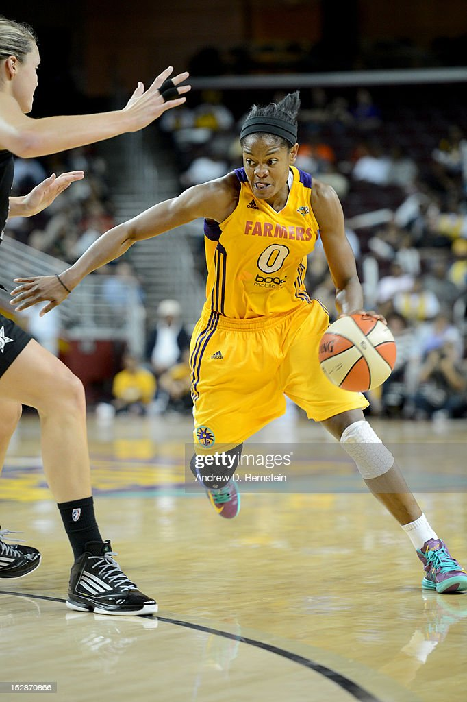 <a gi-track='captionPersonalityLinkClicked' href=/galleries/search?phrase=Alana+Beard&family=editorial&specificpeople=210691 ng-click='$event.stopPropagation()'>Alana Beard</a> #0 of the Los Angeles Sparks drives to the basket during Game 1 of the WNBA Western Conference Semi Finals against the San Antonio Stars at Galen Center on September 27, 2012 in Los Angeles, California.