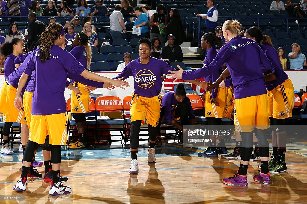 <a gi-track='captionPersonalityLinkClicked' href=/galleries/search?phrase=Alana+Beard&family=editorial&specificpeople=210691 ng-click='$event.stopPropagation()'>Alana Beard</a> #0 of the Los Angeles Sparks gets introduced before the game against the Chicago Sky on May 24, 2016 at the Allstate Arena in Chicago, Illinois.