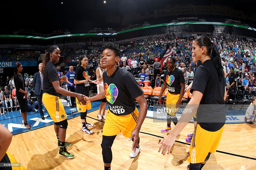<a gi-track='captionPersonalityLinkClicked' href=/galleries/search?phrase=Alana+Beard&family=editorial&specificpeople=210691 ng-click='$event.stopPropagation()'>Alana Beard</a> #0 of the Los Angeles Sparks gets introduced before the game against the Minnesota Lynx during the WNBA game on June 24, 2016 at Target Center in Minneapolis, Minnesota.
