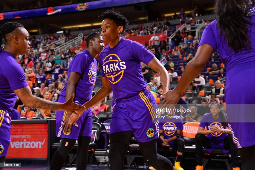 Alana Beard #0 of the Los Angeles Sparks gets introduced in the starting line up before the game against the Phoenix Mercury in Game Three of the Semifinals during the 2017 WNBA Playoffs on September 17, 2017 at Talking Stick Resort Arena in Phoenix, Arizona.