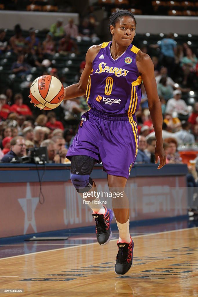 <a gi-track='captionPersonalityLinkClicked' href=/galleries/search?phrase=Alana+Beard&family=editorial&specificpeople=210691 ng-click='$event.stopPropagation()'>Alana Beard</a> #0 of the Los Angeles Sparks handles the ball against the Indiana Fever on July 15, 2014 at Bankers Life Fieldhouse in Indianapolis, Indiana.