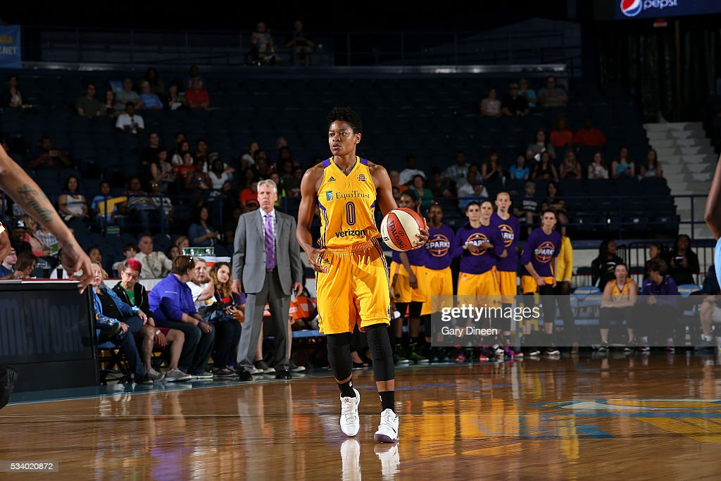 <a gi-track='captionPersonalityLinkClicked' href=/galleries/search?phrase=Alana+Beard&family=editorial&specificpeople=210691 ng-click='$event.stopPropagation()'>Alana Beard</a> #0 of the Los Angeles Sparks handles the ball during the game against the Chicago Sky on May 24, 2016 at the Allstate Arena in Chicago, Illinois.