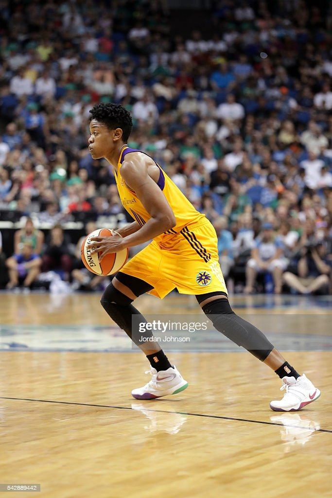 <a gi-track='captionPersonalityLinkClicked' href=/galleries/search?phrase=Alana+Beard&family=editorial&specificpeople=210691 ng-click='$event.stopPropagation()'>Alana Beard</a> #0 of the Los Angeles Sparks handles the ball during the game against the Minnesota Lynx during the WNBA game on June 24, 2016 at Target Center in Minneapolis, Minnesota.