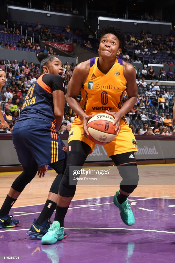 Alana Beard #0 of the Los Angeles Sparks handles the ball during the game against the Connecticut Sun on September 3, 2017 at STAPLES Center in Los Angeles, California.