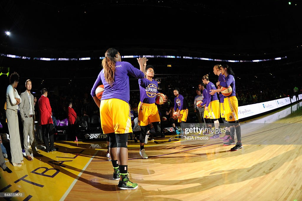 <a gi-track='captionPersonalityLinkClicked' href=/galleries/search?phrase=Alana+Beard&family=editorial&specificpeople=210691 ng-click='$event.stopPropagation()'>Alana Beard</a> #0 of the Los Angeles Sparks is introduced before the game against the Connecticut Sun on June 26, 2016 at STAPLES Center in Los Angeles, California.