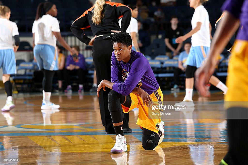 <a gi-track='captionPersonalityLinkClicked' href=/galleries/search?phrase=Alana+Beard&family=editorial&specificpeople=210691 ng-click='$event.stopPropagation()'>Alana Beard</a> #0 of the Los Angeles Sparks looks on before the game against the Chicago Sky on May 24, 2016 at the Allstate Arena in Chicago, Illinois.