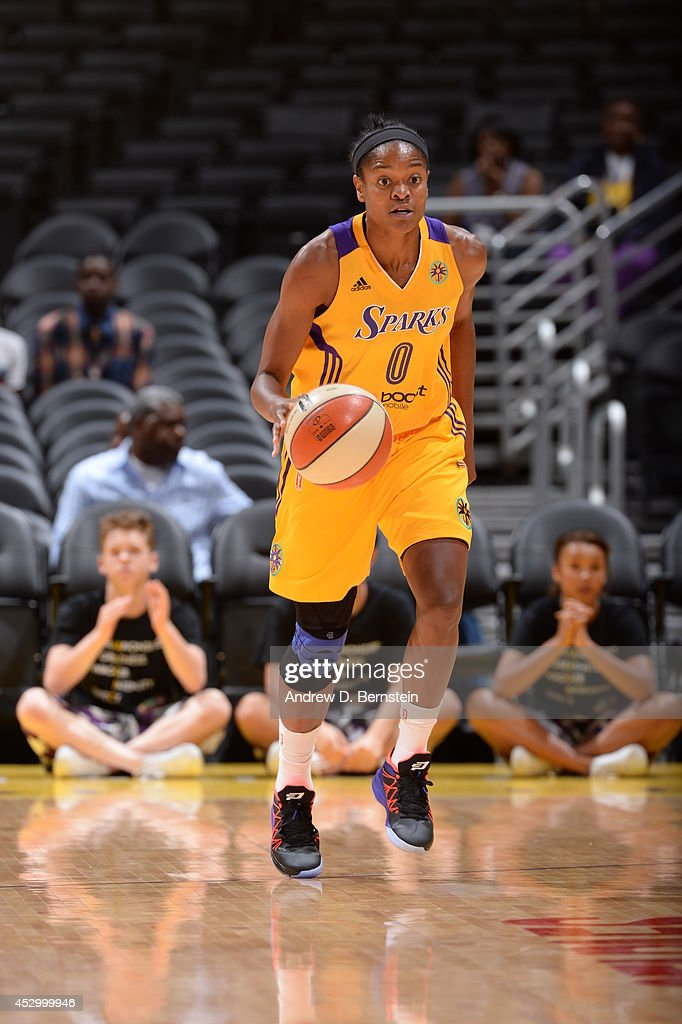 <a gi-track='captionPersonalityLinkClicked' href=/galleries/search?phrase=Alana+Beard&family=editorial&specificpeople=210691 ng-click='$event.stopPropagation()'>Alana Beard</a> #0 of the Los Angeles Sparks moves the ball up-court against the Washington Mystics at STAPLES Center on July 17, 2014 in Los Angeles, California.