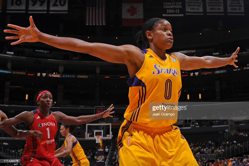 <a gi-track='captionPersonalityLinkClicked' href=/galleries/search?phrase=Alana+Beard&family=editorial&specificpeople=210691 ng-click='$event.stopPropagation()'>Alana Beard</a> #0 of the Los Angeles Sparks plays defense against the Washington Mystics at Staples Center on June 23, 2013 in Los Angeles, California.