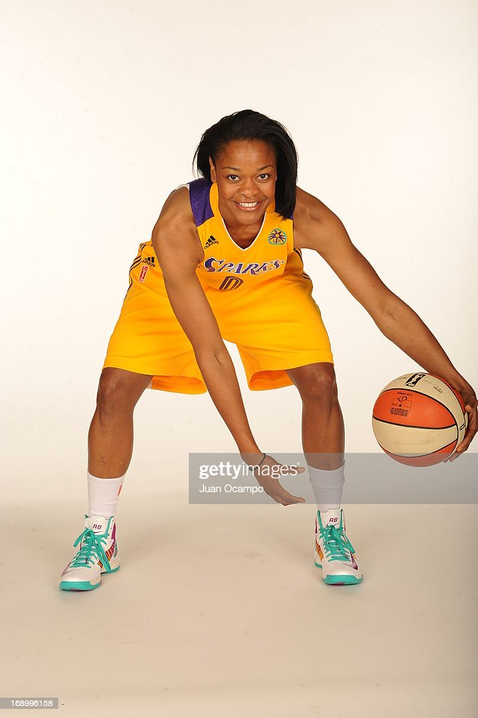 <a gi-track='captionPersonalityLinkClicked' href=/galleries/search?phrase=Alana+Beard&family=editorial&specificpeople=210691 ng-click='$event.stopPropagation()'>Alana Beard</a> #0 of the Los Angeles Sparks poses for a photo during the Los Angeles Sparks Media Day on May 17, 2013 at St. Mary's School in Inglewood, California.