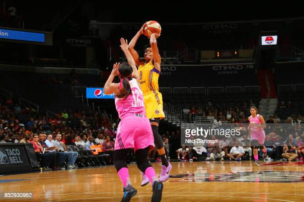 Alana Beard of the Los Angeles Sparks shoots the ball against the Washington Mystics on August 16 2017 at the Verizon Center in Washington DC NOTE TO...