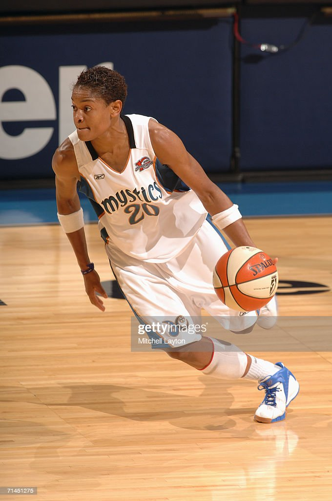 Alana Beard #20 of the Washington Mystics drives during a game against the Indiana Fever at MCI Center on June 27, 2006 in Washington, D.C. The Fever won 74-67.