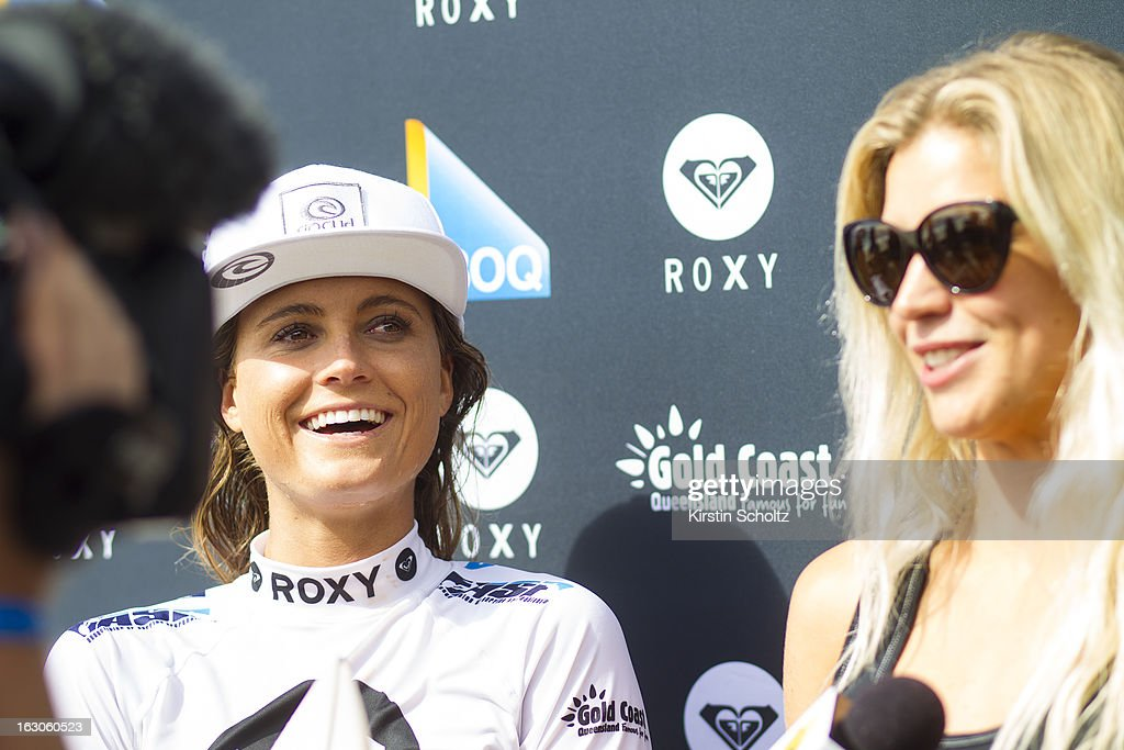 Alana Blanchard of Hawaii talks to Rosy Hodge of South Africa (R) during a post heat interview during the Roxy Pro Gold Coast 2013 on March 4, 2013 in Gold Coast, Australia.