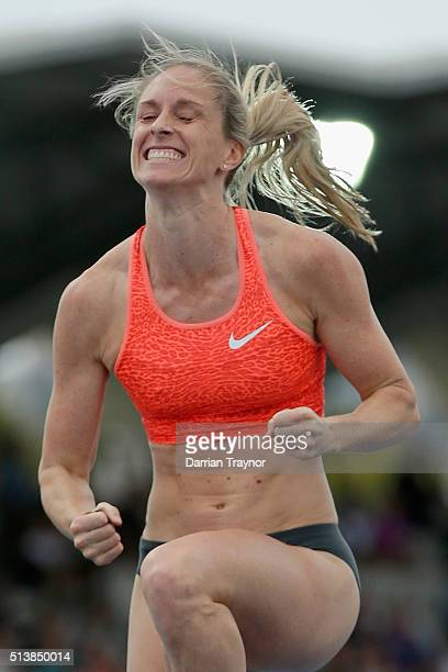 Alana Boyd celebrates in the pole vault during the IAAF World Challenge at Olympic Park on March 5 2016 in Melbourne Australia