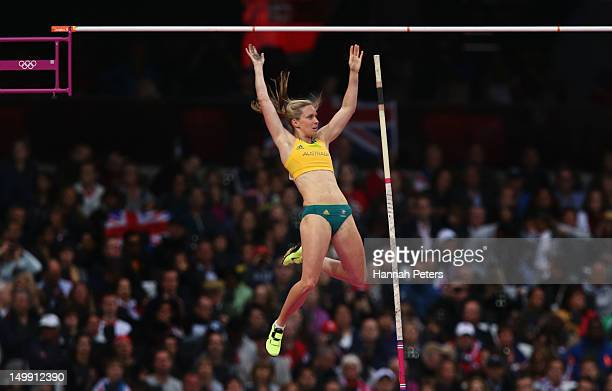 Alana Boyd of Australia reacts clears the bar in the Women's Pole Vault final on Day 10 of the London 2012 Olympic Games at the Olympic Stadium on...