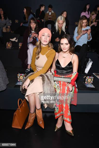 Alana Hadid and Olivia Perez attend Anna Sui Fall/Winter 2017 Show at Skylight Clarkson Sq on February 15 2017 in New York City