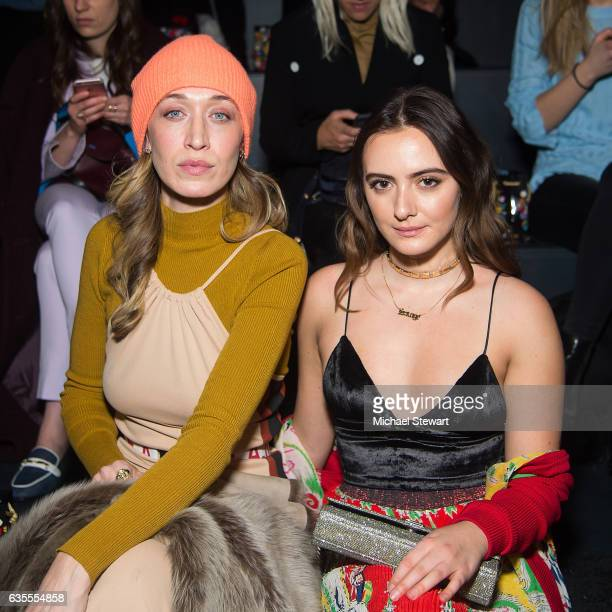 Alana Hadid and Olivia Perez attend the Anna Sui fashion show during February 2017 New York Fashion Week at Gallery 1 Skylight Clarkson Sq on...