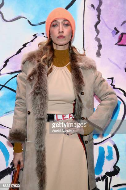 Alana Hadid attends the Anna Sui fashion show during New York Fashion Week The Shows at Gallery 1 Skylight Clarkson Sq on February 15 2017 in New...
