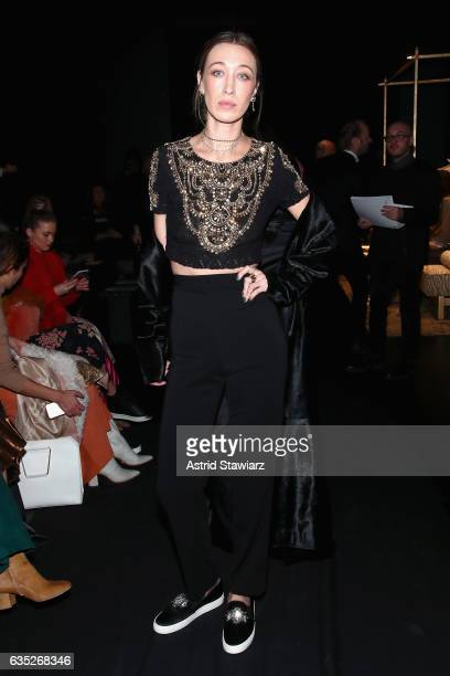 Alana Hadid attends the Badgley Mischka collection during New York Fashion Week The Shows at Gallery 1 Skylight Clarkson Sq on February 14 2017 in...