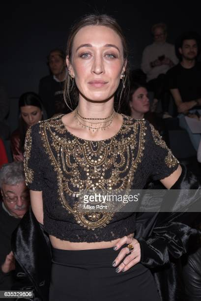 Alana Hadid attends the Badgley Mischka fashion show during New York Fashion Week The Shows at Gallery 1 Skylight Clarkson Sq on February 14 2017 in...