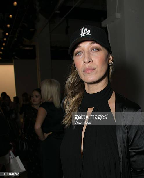 Alana Hadid attends the Misha Collection Front Row September 2016 New York Fashion Week The Shows at The Gallery at Skylight Clarkson Sq on September...