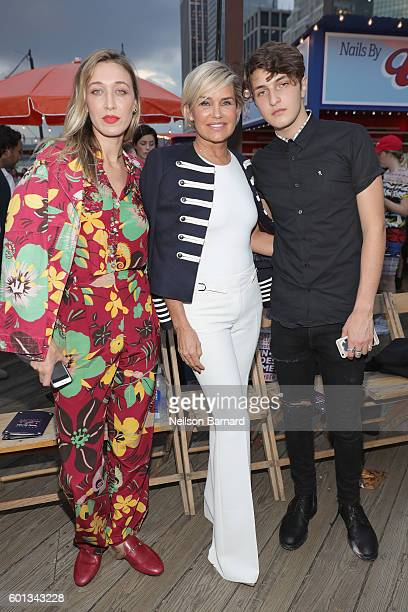 Alana Hadid Yolanda Hadid and Anwar Hadid attend the #TOMMYNOW Women's Fashion Show during New York Fashion Week at Pier 16 on September 9 2016 in...