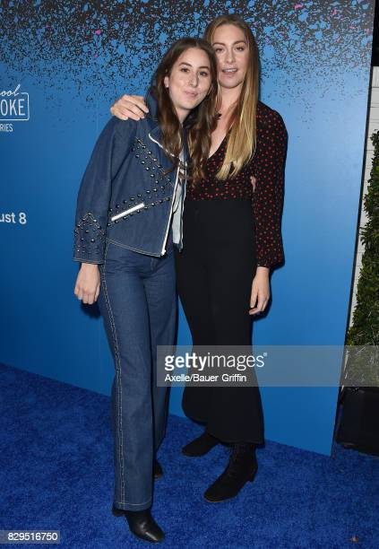 Alana Haim and Este Haim of HAIM arrive at 'Carpool Karaoke The Series' On Apple Music Launch Party at Chateau Marmont on August 7 2017 in Los...